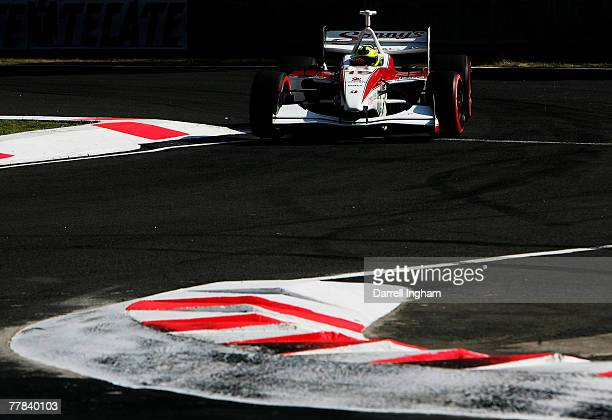Bruno Junqueira drives the Dale Coyne Racing Panoz DP01 during practice for the ChampCar World Series Grand Premio Tecate on November 10 2007 at the...