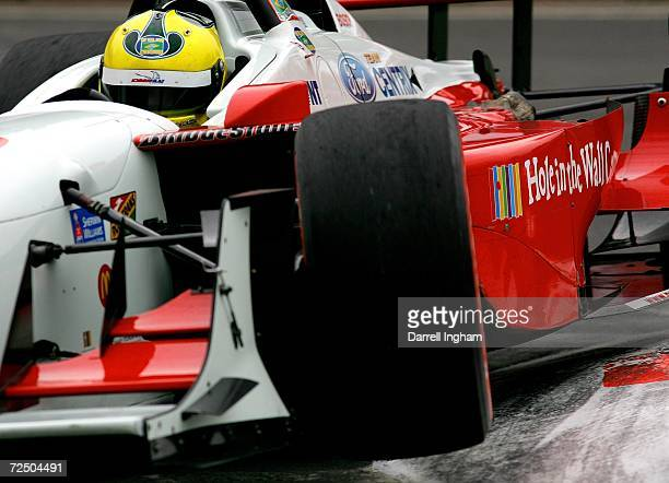 Bruno Junqueira drives the Newman Haas Racing Lola Cosworth during practice for the ChampCar World Series Gran Premio Telmex on November 10 2006 at...