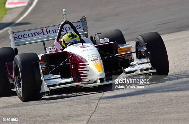 Bruno Junqueira of Brazil drives during practice and qualifying for the CART series GP at the Autodromo Hermanos Rodriguez November 6 2004 in Mexico...