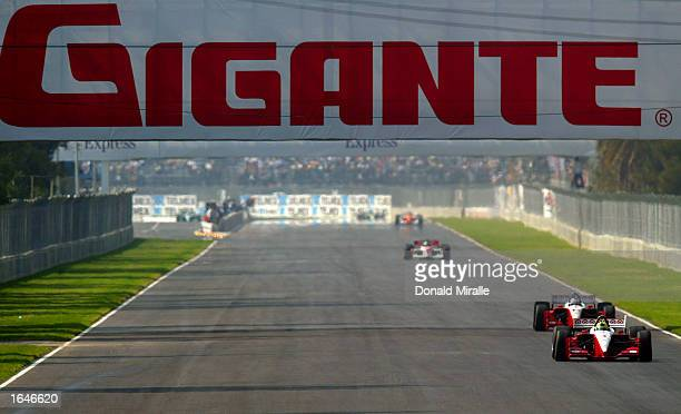 Bruno Junqueira powers down the front straight in the Target Ganassi Racing Toyota Lola during qualifying for the Gran Premio GiganteTelmex round 19...