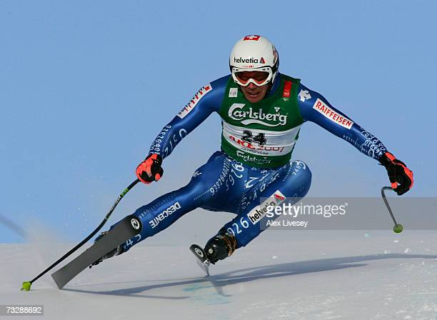 Bruno Kernen of Switzerland competes during the Mens Downhill on day nine of the FIS World Ski Championships on February 11 2007 in Are Sweden