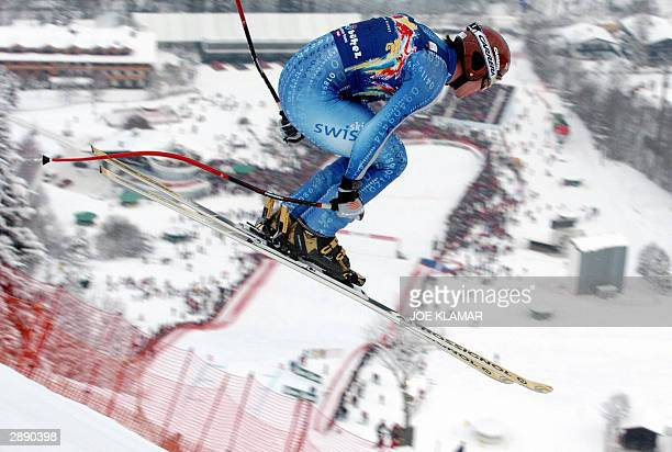 Bruno Kernen of Switzerland flies through the most difficult part of the Hahnenkamm during the men's FIS World Cup downhill in Kitzbuhel 22 January...