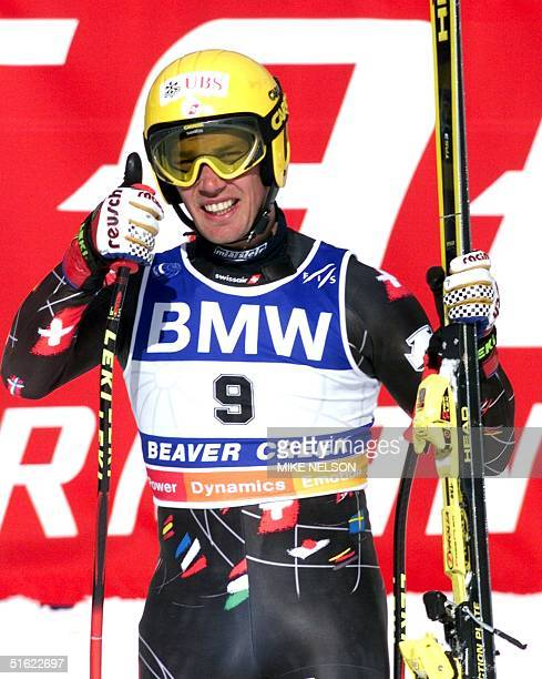 Bruno Kernen of Switzerland gives a thumbsup after skiing the best time in the the men's downhill combined race at the 1999 World Alpine Ski...