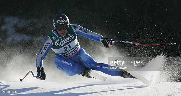 Bruno Kernen of Switzerland in action during the Men's Downhill training at the FIS Alpine World Ski Championships 2005 on February 4 2005 in Bormio...