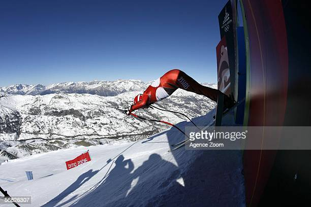 Bruno Kernen of Switzerland in action during the Men's Downhill training during Day 1 of the Turin 2006 Winter Olympic Games on February 11 2006 in...