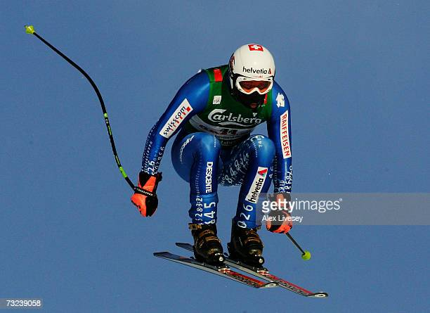 Bruno Kernen of Switzerland in action during the Mens Downhill training session on day five of the FIS World Ski Championships on February 7 2007 in...