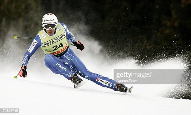 Bruno Kernen of Switzerland on his way to finishing in 10th Place in the FIS Skiing World Cup Men's Downhill on December 29 2006 in Bormio Italy