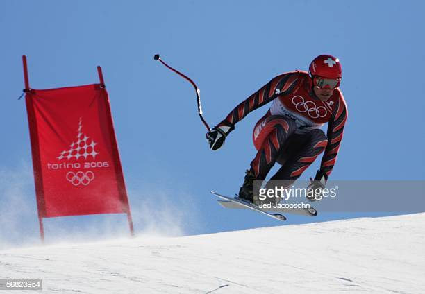 Bruno Kernen of Switzerland skis in the Men's Downhill training during Day 1 of the Turin 2006 Winter Olympic Games on February 11 2006 in Sestriere...