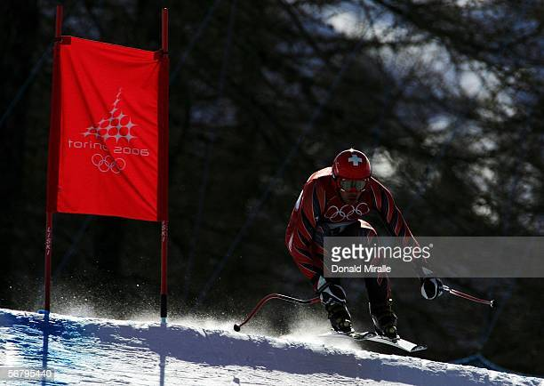Bruno Kernen of Switzerland skis in the Men's Downhill training prior to the Turin 2006 Winter Olympic Games on February 9 2006 in Sestriere Borgata...