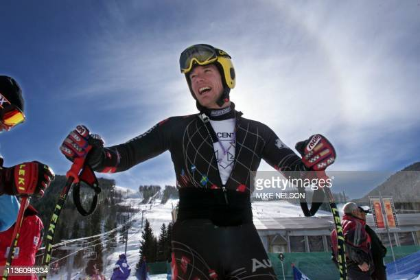 Bruno Kernen of Switzerland takes a break during training runs 31 January at Vail Colorado in preparation for the 1999 World Alpine Ski Championships...