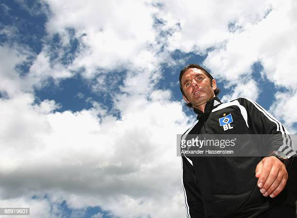 Bruno Labbadia, head coach of Hamburg arrives for a training session at day four of the Hamburger SV training camp on July 9, 2009 in Laengenfeld,...