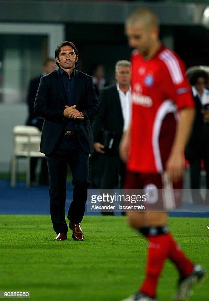 Bruno Labbadia head coach of Hamburg looks dejected after the Europa League match between SK Rapid Wien and Hamburger SV at the ErnstHappelStadion on...