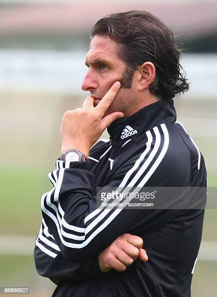 Bruno Labbadia, head coach of Hamburg looks on during a training session at day three of the Hamburger SV training camp on July 8, 2009 in...