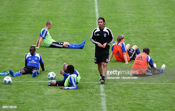 Bruno Labbadia, head coach of Hamburg looks on during a training session at day four of the Hamburger SV training camp on July 9, 2009 in...