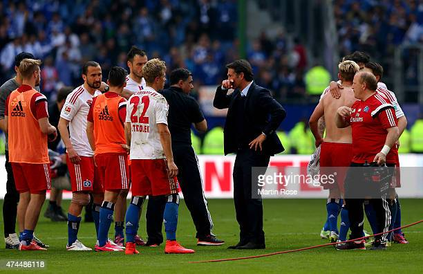 Bruno Labbadia head coach of Hamburg reacts after the Bundesliga match between Hamburger SV and FC Schalke 04 at Imtech Arena on May 23 2015 in...