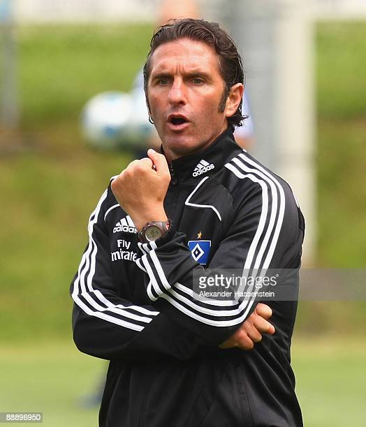 Bruno Labbadia, head coach of Hamburg reacts during a training session at day three of the Hamburger SV training camp on July 8, 2009 in Laengenfeld,...