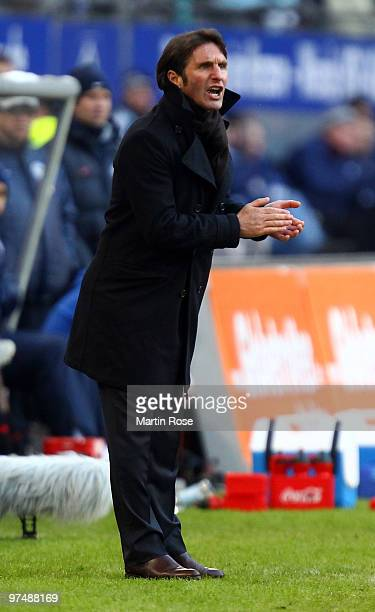 Bruno Labbadia head coach of Hamburg reacts during the Bundesliga match between Hamburger SV and Hertha BSC Berlin at HSH Nordbank Arena on March 6...
