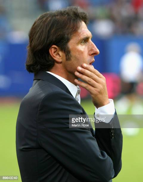 Bruno Labbadia head coach of Hamburg seen prior to the UEFA Europa League second leg match between Hamburger SV and Randers FC at HSH Nordbank Arena...