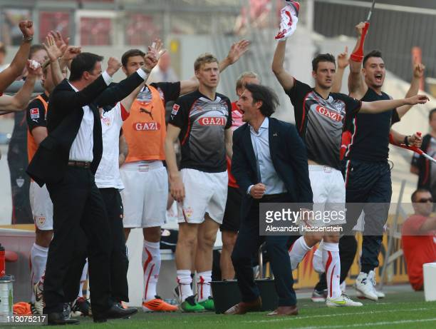 Bruno Labbadia head coach of Stuttgart celebrates the 3rd team goal with his team during the Bundesliga match between VfB Stuttgart and Hamburger SV...