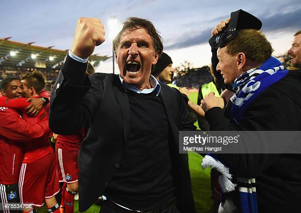 Bruno Labbadia manager of Hamburger SV celebrates victory after the Bundesliga playoff second leg match between Karlsruher SC and Hamburger SV on...