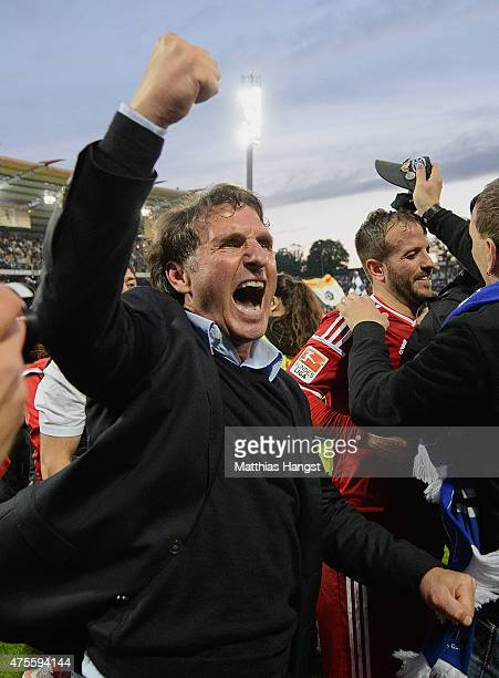 Bruno Labbadia manager of Hamburger SV celebrates victory after the second leg of the Bundesliga playoff match between Karlsruher SC and Hamburger SV...