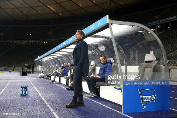 Bruno Labbadia, Manager of Hertha BSC looks on prior to the Bundesliga match between Hertha BSC and VfL Wolfsburg at Olympiastadion on November 01,...