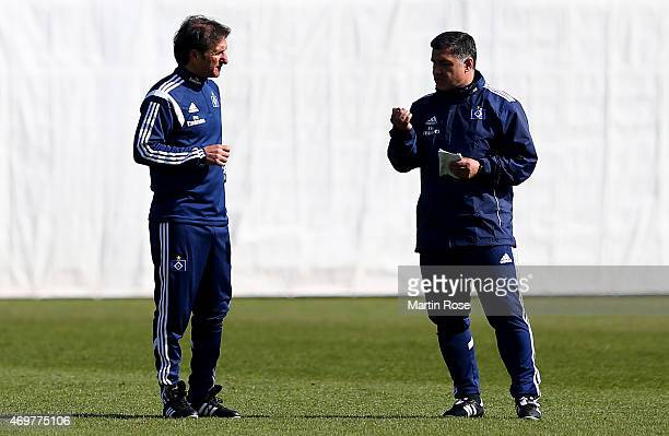 Bruno Labbadia new head coach of Hamburg gives instructions to assistant coach Eddy Soezer during the of Hamburger SV training session on April 15...