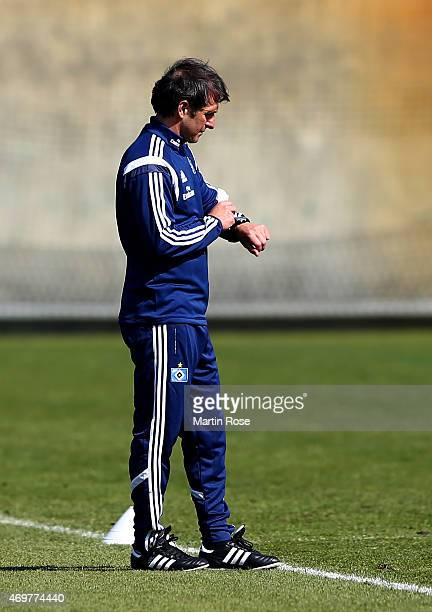 Bruno Labbadia new head coach of Hamburg looks on during the of Hamburger SV training session on April 15 2015 in Hamburg Germany