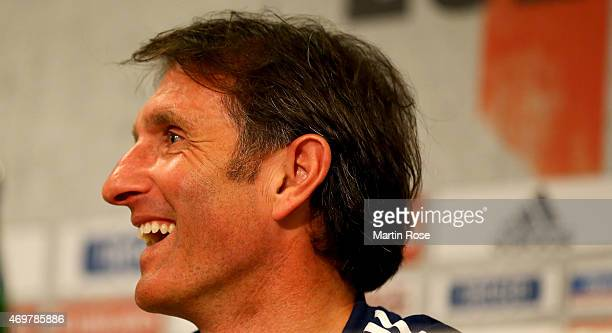 Bruno Labbadia new head coach of Hamburg talks to the media during a press conference on April 15 2015 in Hamburg Germany