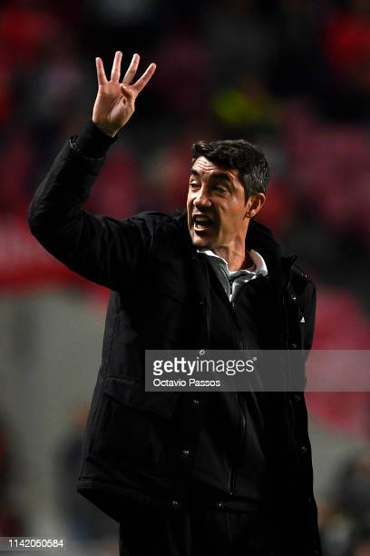 Bruno Lage Manager of Benfica celebrates following his sides victory in the UEFA Europa League Quarter Final First Leg match between Benfica and...