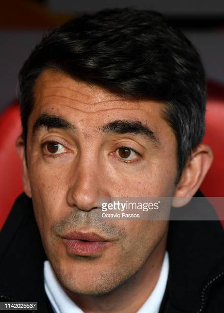 Bruno Lage Manager of Benfica looks on prior to the UEFA Europa League Quarter Final First Leg match between Benfica and Eintracht Frankfurt at...