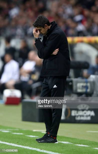 Bruno Lage Manager of Benfica reacts during the UEFA Europa League Quarter Final Second Leg match between Eintracht Frankfurt and Benfica at...