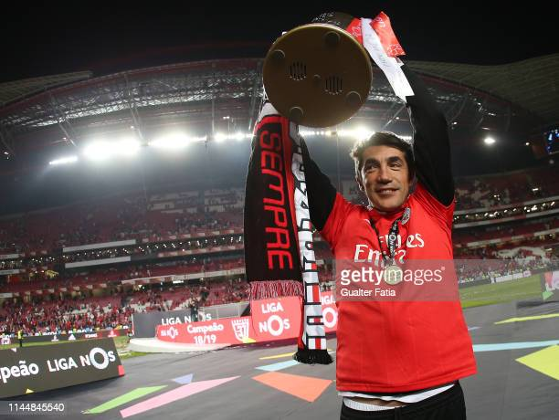 Bruno Lage of SL Benfica celebrates with trophy after winning the Liga NOS Championship at the end of the Liga NOS match between SL Benfica and CD...