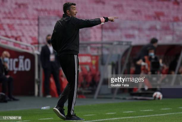 Bruno Lage of SL Benfica gives instructions to his players during the Liga NOS match between SL Benfica and CD Tondela at Estadio da Luz on June 4...