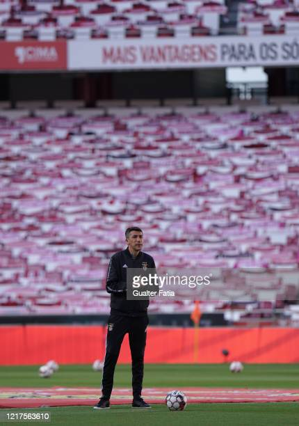 Bruno Lage of SL Benfica looks on before the start of the Liga NOS match between SL Benfica and CD Tondela at Estadio da Luz on June 4 2020 in Lisbon...
