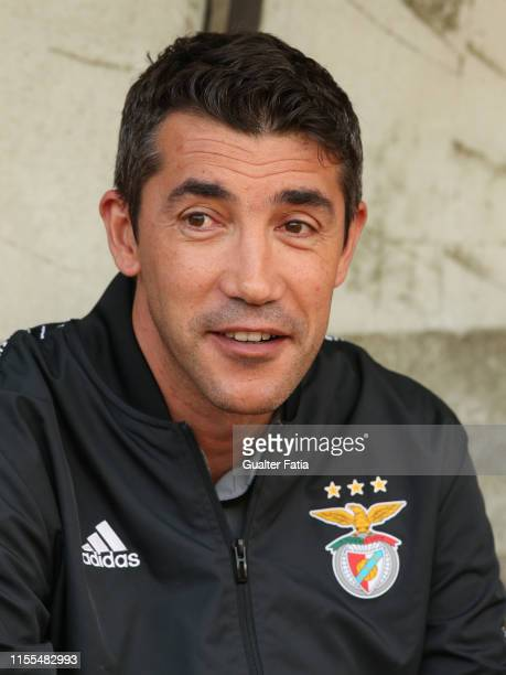 Bruno Lage of SL Benfica looks on before the start of the PreSeason Friendly match between Academica Coimbra and SL Benfica at Estadio Cidade de...