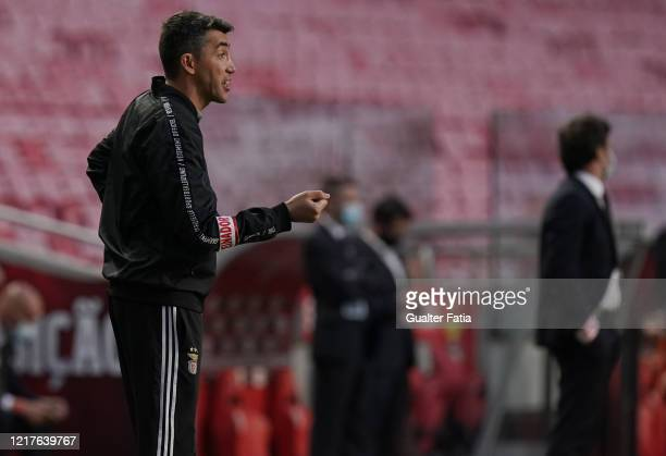 Bruno Lage of SL Benfica reacts during the Liga NOS match between SL Benfica and CD Tondela at Estadio da Luz on June 4 2020 in Lisbon Portugal