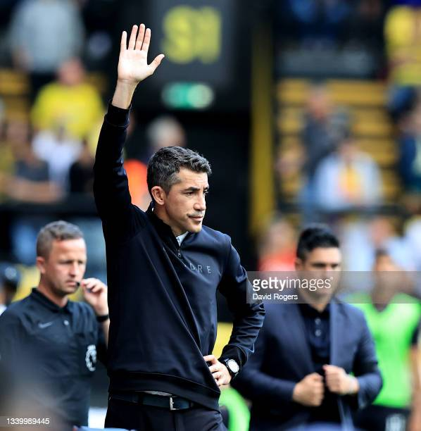Bruno Lage, the Wolverhampton Wanderers manager waves to the crowd during the Premier League match between Watford and Wolverhampton Wanderers at...