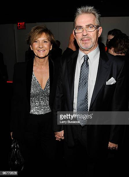 Bruno Laguardia CEO of Giorgio Armani Corporation and wife attend the cocktail party to celebrate the New York premiere of Shutter Island at Armani...