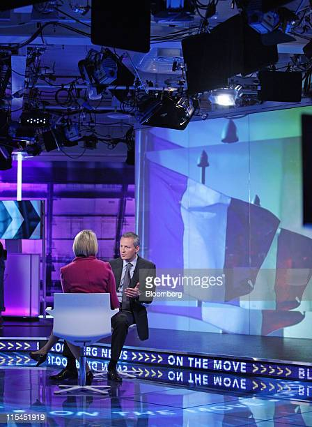 Bruno Le Maire France's agriculture minister right speaks during a Bloomberg via Getty Images Television interview in London UK on Tuesday June 7...