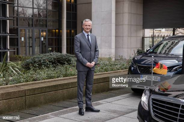 Bruno Le Maire Frances finance minister awaits the arrival of Germanys Acting Finance Minister Peter Altmaier ahead of a news conference at the...