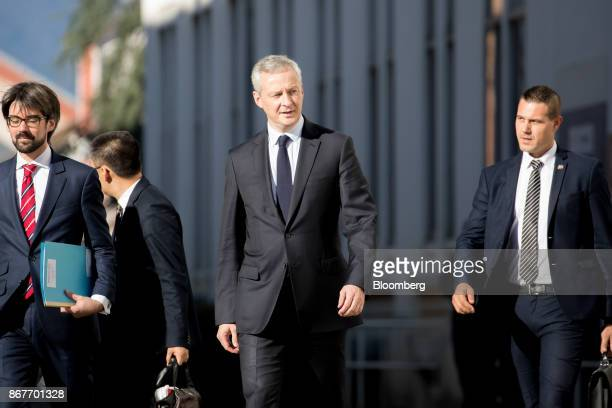 Bruno Le Maire France's finance minister center arrives at the Alstom SA TGV highspeed railway train factory in Belfort France on Thursday Oct 26...