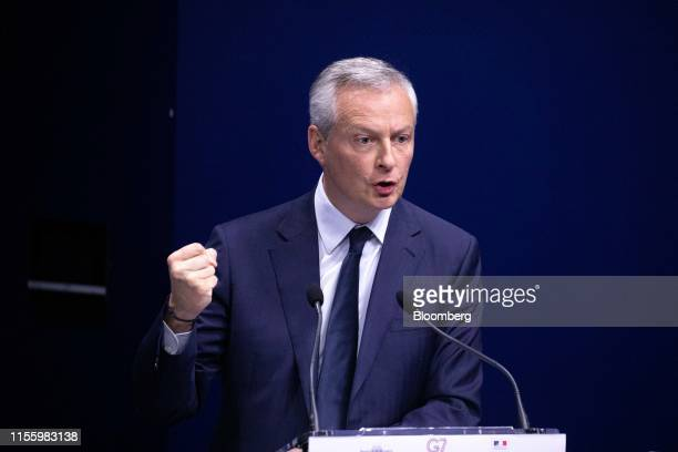 Bruno Le Maire France's finance minister delivers concluding remarks during the 75th anniversary of the Bretton Woods system of monetary management...
