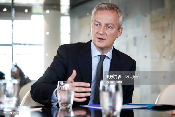 Bruno Le Maire France's finance minister gestures while speaking during an interview in Paris France on Friday Aug 4 2017 Le Maire said the French...