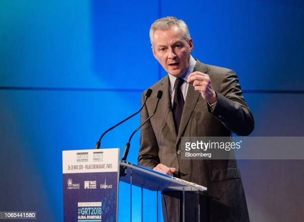 Bruno Le Maire France's finance minister gestures while speaking during Climate Finance Day in Paris France on Monday Nov 26 2018 A group of 28 banks...