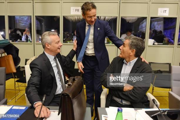 Bruno Le Maire France's finance minister left Jeroen Dijsselbloem Dutch finance minister and head of the group of euroarea finance ministers center...