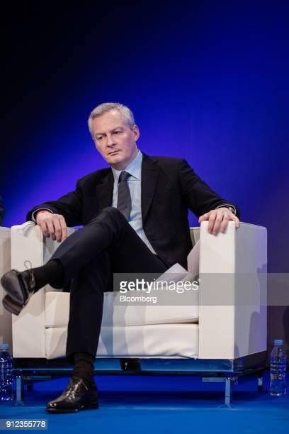 Bruno Le Maire Frances finance minister listens during a panel discussion at the Paris Fintech Forum in Paris France on Tuesday Jan 30 2018 The Paris...