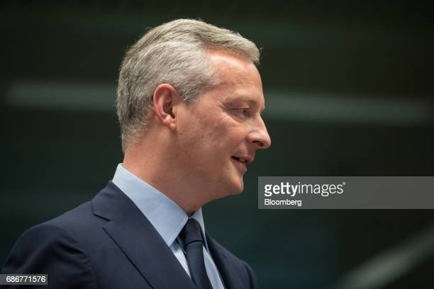 Bruno Le Maire France's finance minister looks on ahead of a Eurogroup meeting of European finance ministers in Brussels Belgium on Monday May 22...