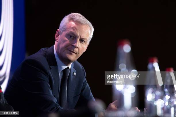 Bruno Le Maire France's finance minister looks on at the Organisation for Economic Cooperation and Development forum in Paris France on Wednesday May...