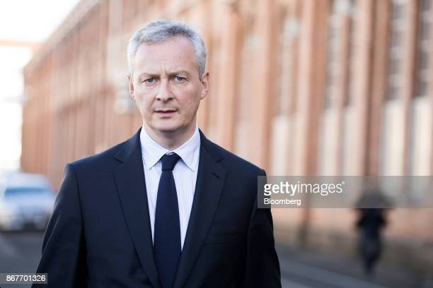 Bruno Le Maire France's finance minister looks on during a visit to the Alstom SA TGV highspeed railway train factory in Belfort France on Thursday...